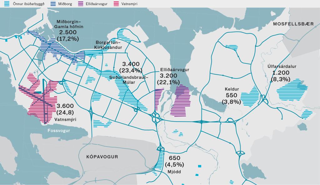 Lykiluppbyggingarsvæði íbúðarhúsnæðis til ársins 2030.